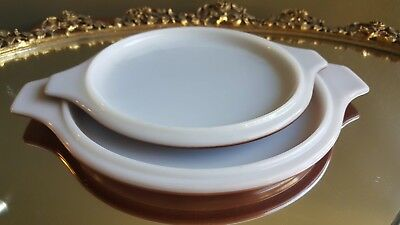 Replacement Set of 2x Graduated Handled Brown Glass Lids Only #20-C-9 & 24-C-26
