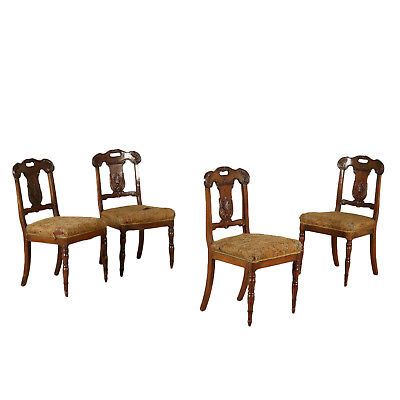 Set of Four Restoration Chairs Walnut Italy 1800s