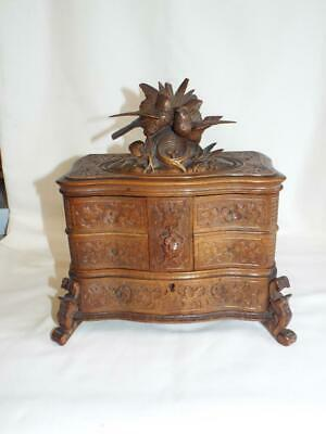 Good large antique Black Forest jewellery box.