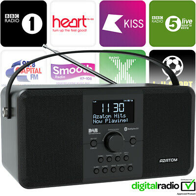 AZATOM Mulitplex DAB Radio Clock FM Portable Digital Alarm Bluetooth - Black (R)