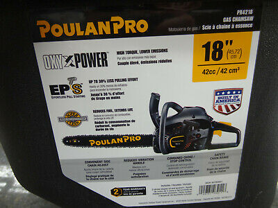 NEW Poulan PR4218 18 in. 42cc Gas Chainsaw Rear Handle Chainsaw W/Case