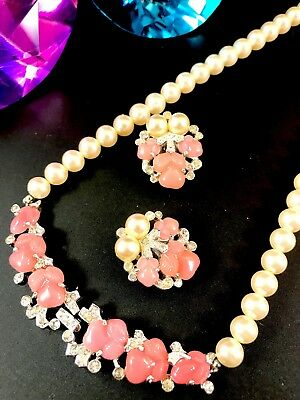1948 Crown Trifari Fragonard Faux Pearl Pink Fruit Salad Necklace Earrings Set