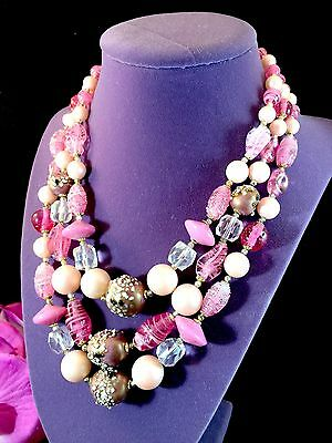Gorgeous Murano Venetian Rose Pink Art Glass Decorated Bead 3 Strand Necklace