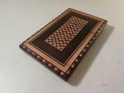 An Antique Tonbridge Ware Wooden Card Case With Three Colour Inlay : c1890