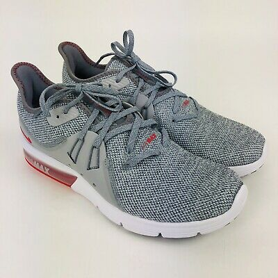 5cb0e631eb Nike Air Max Sequent 3 Grey Red 921694-060 Running Shoes Men's Size 7.5 New