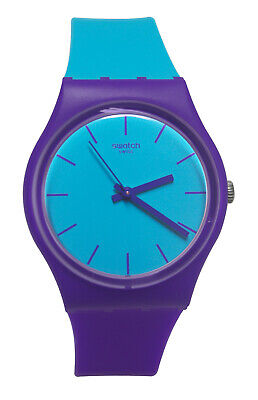 f2fe8dba7 Swatch GV128 Mixed Up Blue Analog Dial Purple Silicone Rubber Band Unisex  Watch