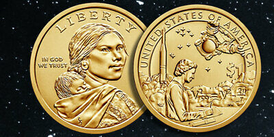 2019 P&D Sacagawea Native American Indian One Dollar Mint In The Space Program