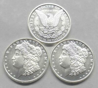 3 Morgan Style 1 Troy Ounce .999 Fine Silver Bullion Rounds, (3 oz Silver Total)