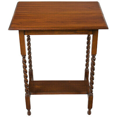 English Antique Oak Barley Twist Leg Side End Accent Lamp Table Sturdy Strong