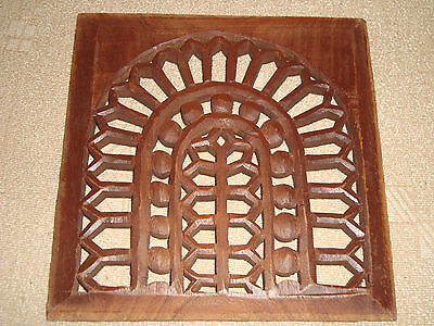 Greece antique Greek chair hand carved wooden back square detail 210x210mm - CB3