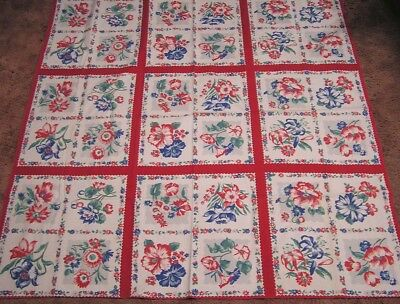 """Vintage Tablecloth Gorgeous Garden Flowers in Squares WOW!  46"""" square"""