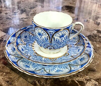 ANTIQUE ENGLISH BONE China Cup Saucer Plate Trio Blue White Gold Accents