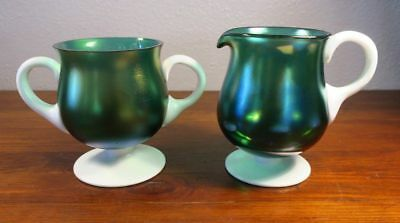 Iridescent Art Glass Two-Tone Green & White Large Cream and Sugar Set