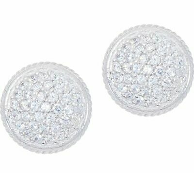 274e1fffe Diamonique 1/3Ct Sterling Silver Pave' Round Stud Earrings Qvc Soldout