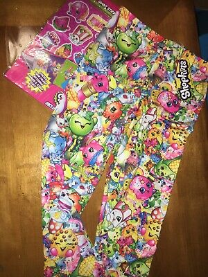 NWT Girls' Shopkins Bunch Leggings Sz 10 + Stickers Easter Birthday