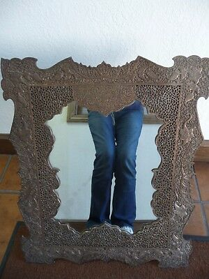 AMAZING HEAVY ANTIQUE (18th - 19th c) COPPER ISLAMIC - OTTOMAN - PERSIAN MIRROR