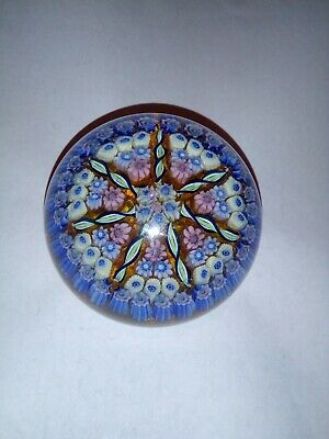 A Large Quality Glass Spiral Cartwheel Millefiori Canes Paperweight Star Base