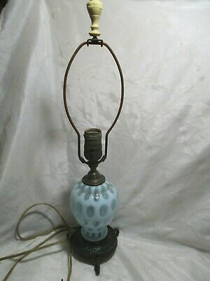 Vintage Fenton Opalescent Blue Coin Spot Lamp w/ Bakelite Swag & Bow Finial