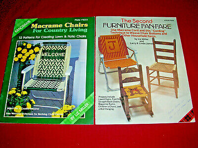 2 Vintage Books Macrame Lawnchairs - Weave Chairs Stools