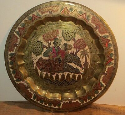 Antique Ottoman Middle Eastern Large Brass & Enamel Tray W Hand Engraved Designs