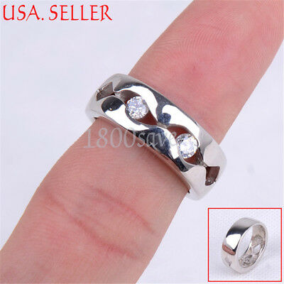 Solid 925 Sterling Silver Classic See-through Crystal Inaly 6mm Band Ring Z501