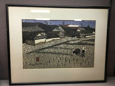 Mid 20th C Kiyoshi Saito Woodblock Man and Ox Signed In Plate
