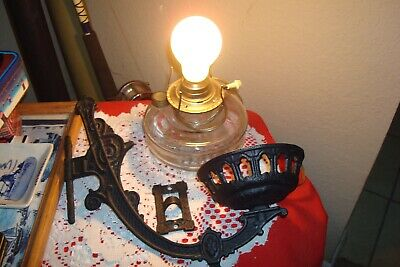 Vintage Cast Iron Wall Sconce with Electric Kerosene Lamp