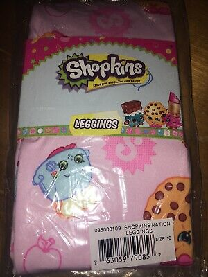 NWT Girls' Shopkins Pink Cookie Lippy Lip Leggings Sz 10 Easter Birthday