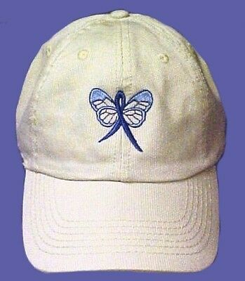 Blue Awareness Baseball Hat Ribbon Butterfly Stone Cap Colon Cancer Child Abuse
