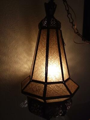 Vintage Amber Glass Light Moroccan Fixture Pendulum Retro WORKS