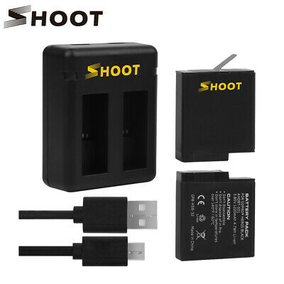 SHOOT Dual/Triple Charger With 2 or 3pcs 1220mAh Battery for GoPro HD 5 6 7Black