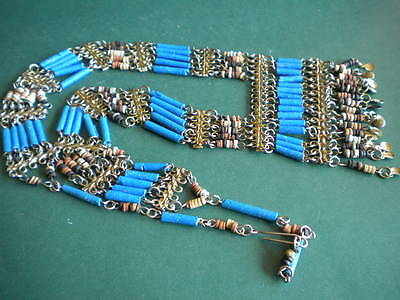 Egyptian Revival Vintage  Cleopatra Style Necklace Pendent  Brass Faience Beads