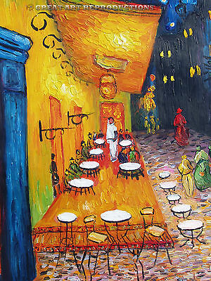 """""""Cafe Terrace at Night"""",  Vincent van Gogh, Reproduction in Oil, 36""""x24"""""""