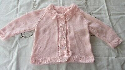 Vintage Style Baby knitted  cardigan Pink,beautifully handmade by nana