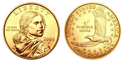2004 P Native American Indian One Dollar Coin Sacagawea U.S. Mint Money Coins