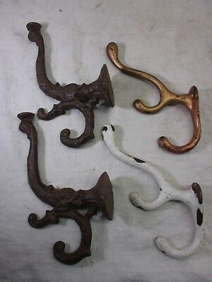4 Vintage Cast Iron Coat Hooks Hangers with Fish Motif Architectural Salvage Lot