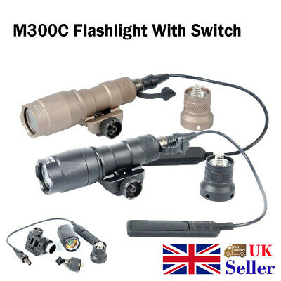 Tactical Mini M300C Light Flashlight 20mm Weaver Rail Mount With Switch Airsoft
