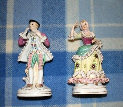 PAIR OF PORCELAIN DRESDEN STYLE FIGURES IN 18th CENTURY DRESS. MADE ABOUT 1890