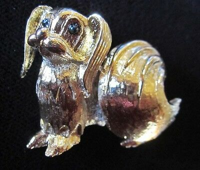 Signed Shiny Gold Tone Papillon Dog Pin by D'orlan