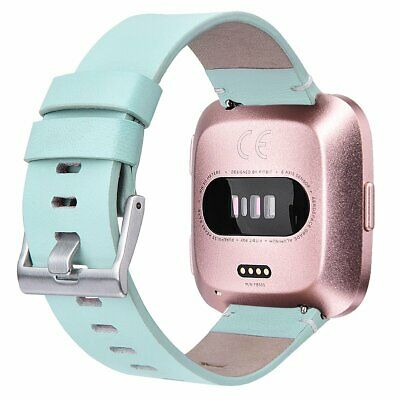 Leather Band Strap Replacement For Fitbit Versa Smartwatch Small Mint Green