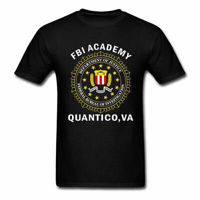 Fbi Academy Quantico Police T-Shirts Cotton M-3XL US Men's Clothing Trend 2019