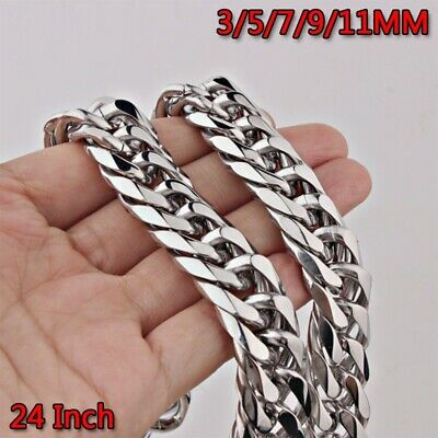 3-11mm Men Womens 316L Stainless Steel Silver Twist Curb Link Chain Necklace Gif