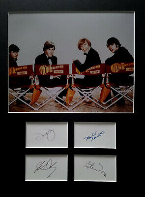 THE MONKEES signed autographs PHOTO DISPLAY Davy Jones Mike Nesmith Peter Tork