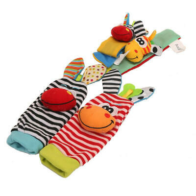 NEW 4X Kit Infant Baby Kids Hand Wrist Bell Foot Sock Rattles Soft Animal Toy
