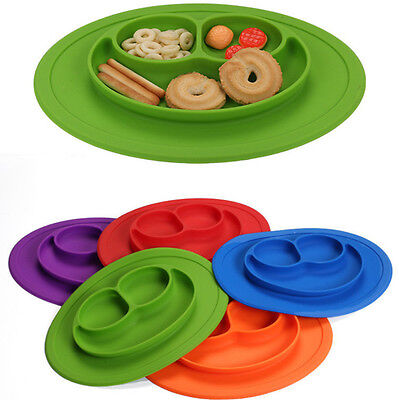 Baby Kid Food Grade Silicone Mat Table Food Dish Suction Tray Placemat Plate Bow