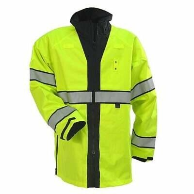 New Blauer 233R REVERSIBLE RAIN JACKET Hi-Vis Yellow Mens Size Small Short Coat