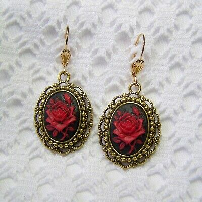 Victorian Style Red Rose Cameo Dangle Earrings, Steampunk Antiqued Gold Filigree