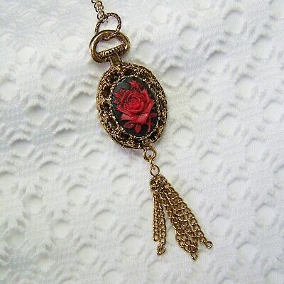 Victorian Style Red Rose Cameo Tassel Necklace, Steampunk Antiqued Gold Filigree