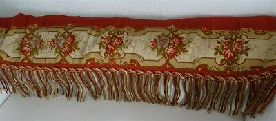 French antique valance Aubusson tapestry XIXème floral decor and fringes