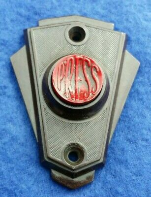 Rare Art Deco Original Red Button Vintage Bakelite Electric Door Bell Push Press